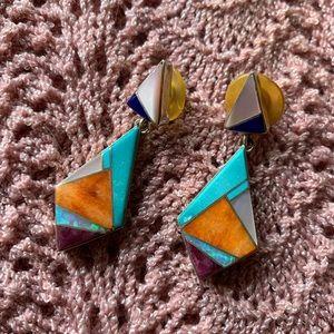 Vintage 80s Native American Southwestern Earrings